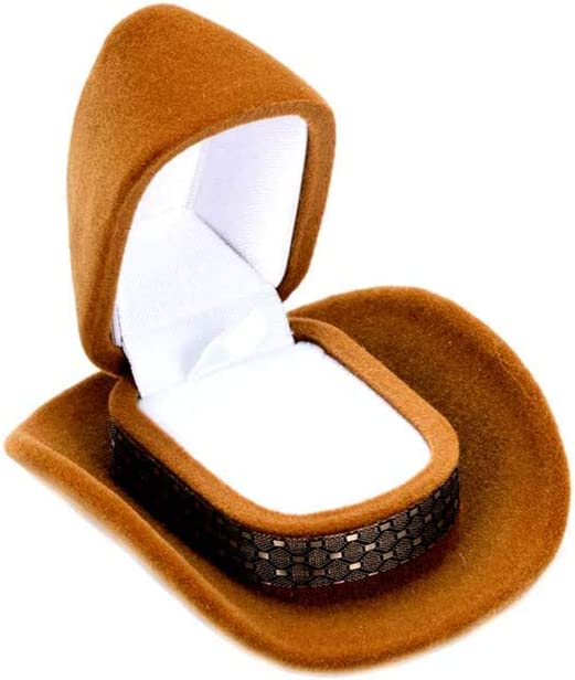 Cowboy Hat Shape Velvet Display Gift Box Jewelry Case For Necklace Earring-Ring