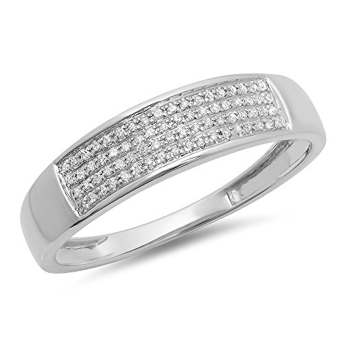 0.15 Carat (ctw) 10K White Gold Round Diamond Men's Hip Hop Wedding Band 1/6 CT (Size 12) by DazzlingRock Collection