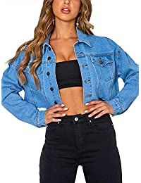 Women's Oversize Vintage Washed Boyfriend Denim Jacket Long Sleeve Classic Loose Jean Trucker Jacket