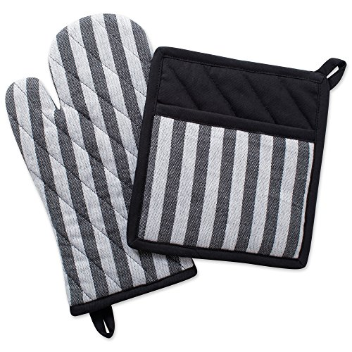 - DII Cotton Heat Resistant Kitchen Pot Holder and Oven Mitt Set Farmhouse Chic Geometric Design, Machine Washable for Every Home, (Potholder 8x8.5, Ovenmitt 6.5x12), Stripe
