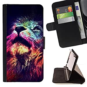 Lion Cosmos Deep Universe Space King - Painting Art Smile Face Style Design PU Leather Flip Stand Case Cover FOR Samsung Galaxy S5 V SM-G900 @ The Smurfs