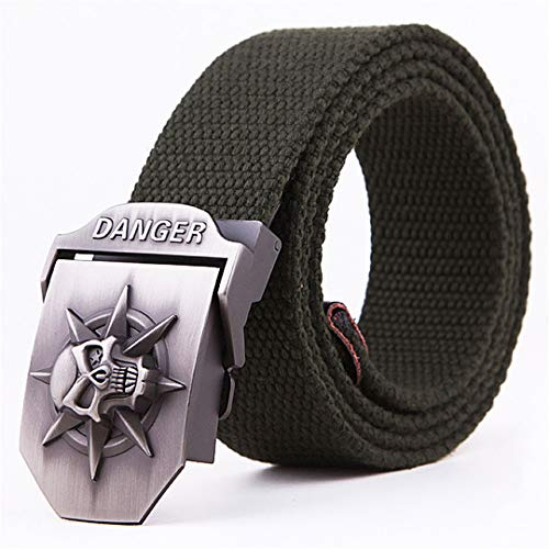 (Military Tactical Danger Skull Metal Automatic Buckle Canvas Belt Men Casual Belts Outdoor Hunting Belt 05 135cm)