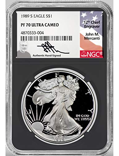 1989 S American Silver Eagle Mercanti Signed $1 NGC PF70