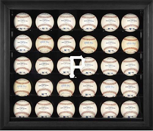 (Sports Memorabilia Pittsburgh Pirates (2014-Present) Logo Black Framed 30-Ball Display Case - Baseball Logo Display Cases )