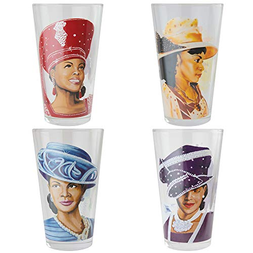 - African American Expressions - Sunday Morning, Ladies with Hats, Drinking Glass Set (17 oz. glass, 5.75