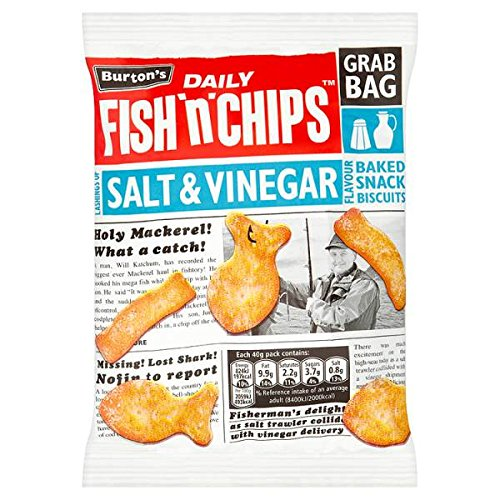 ( 15 Pack ) Burton's Daily Fish 'n' Chips Lashings of Salt & Vinegar Flavour Baked Snack Biscuits Grab Bag 40g Burton's