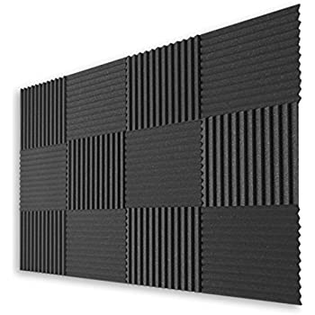 Ats wedge foam acoustic panels charcoal for Sound proof wall padding