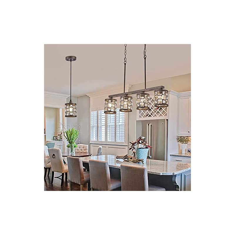 4-Light Kitchen Light Fixtures, Farmhouse Chandelier with Oil Rubbed Bronze Finish, Island Pendant Lighting for Dining…