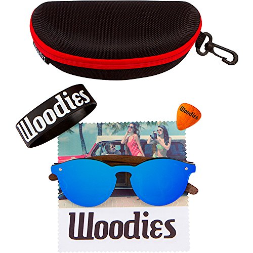 WOODIES Walnut Wood Foster Style Sunglasses with Flat Blue Mirror Polarized Lens by Woodies (Image #5)