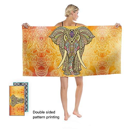 GNORRIS Microfiber Beach Towel Pool Blanket - Anti-UV Sand Free Quick Fast Dry for Large Big Outdoor Travel Swim Rack Pool Picnic Thin Yoga Mat for Gilrs Kids Teens Adults Elephant