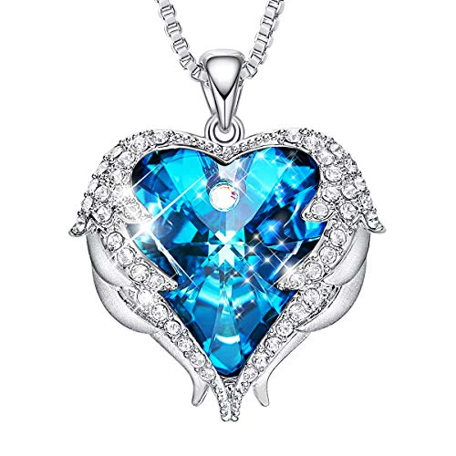 CDE Angel Wing Necklaces for Women Embellished with Crystals from Swarovski Pendant Necklace Heart of Ocean Jewelry Gift for Mom