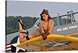 Christian Kieffer Gallery-Wrapped Canvas entitled 1940's style pin-up girl lying on a T-6 Texan training aircraft