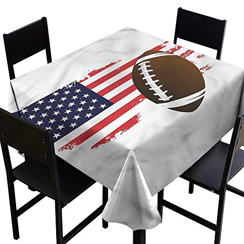 haommhome Waterproof Tablecloth Sports Pattern of USA Flag Football Washable Tablecloth W50 xL50 Washable Polyester - Great for Buffet Table, Parties, Holiday Dinner, Wedding & ()