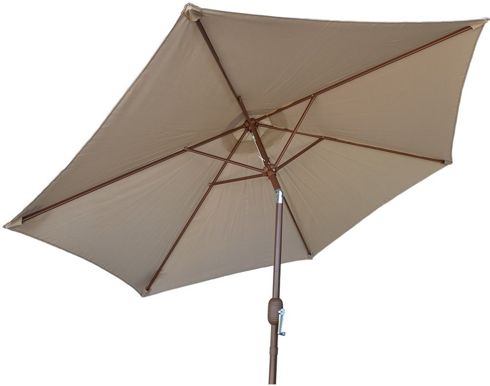 "KoKoMo Grills 9' Beige Crank Umbrella - 9' Span Crank Open System 1-1/2"" Steel Pole - shades-parasols, patio-furniture, patio - 51S76oSIGoL -"