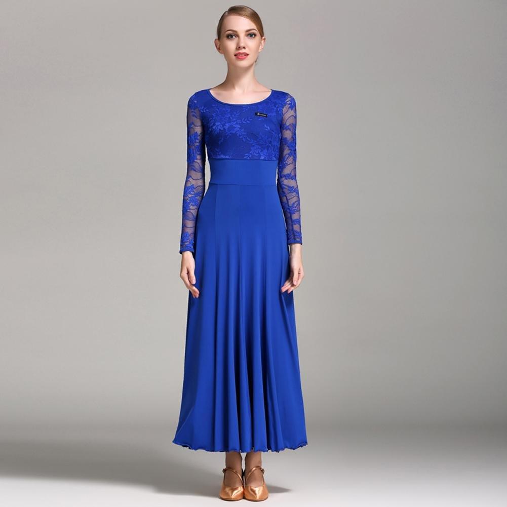 Trésor bleu Wanson Femmes Valse Danse Costume élégant Splice de Dentelle Confortable et Doux Exécution Robe de Danse Moderne XXL