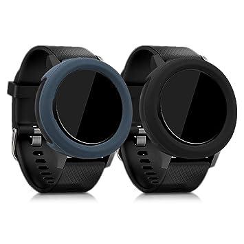 kwmobile 2 Fundas para Garmin Vivoactive 3 - Cubierta para Monitor de Actividad de Silicona - Case Negro/Antracita