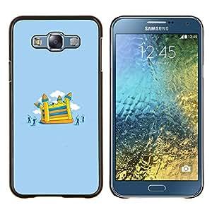 TaiTech / Prima Delgada SLIM Casa Carcasa Funda Case Bandera Cover Armor Shell Wood Texture - Pintura juegos infantil - Samsung Galaxy E7 E700