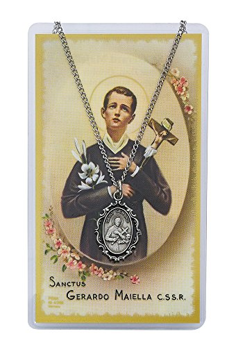 "Adult Oval St Gerard Pewter Medal Necklace, 18"". Prayer Card."