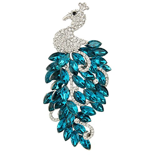 EVER FAITH Austrian Crystal Elegant Peacock Bird Animal Brooch Turquoise Color w/Clear Silver-Tone