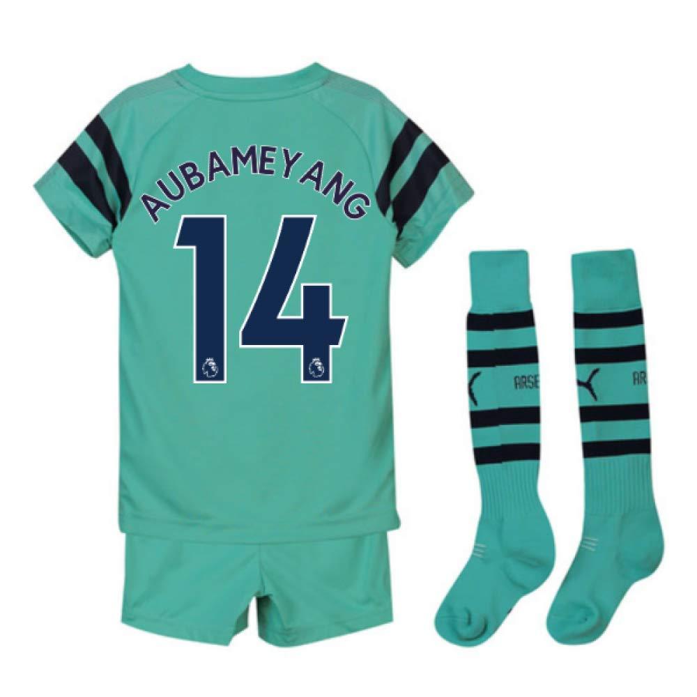 UKSoccershop 2018-2019 Arsenal Third Little Boys Mini Kit (Pierre Emerick Aubameyang 14)