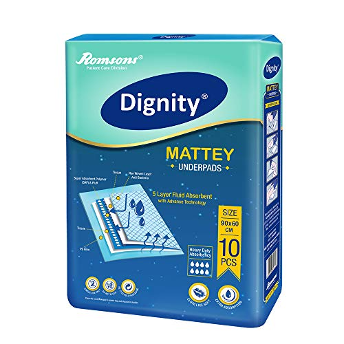 Dignity Mattey Disposable Underpads, 60×90 cm, 10 Pcs/Pack (Pack of 1)