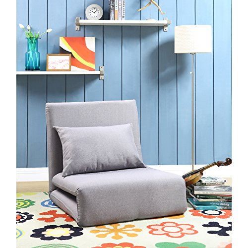 Loungie Relaxie Grey Linen Flip Chair | 5-Position Adjustable Back | Convertible | Sleeper Dorm Bed Couch Lounger Seat Sofa By Inspired Home by Loungie