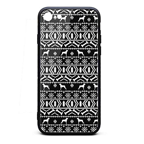 ZaiyuXio iPhone 6S Plus Case, iPhone 6 Plus Case Dogs Boxer Bone Snowflake Tempered Glass Back Cover Scratch-Resistant Anti-Slip Soft TPU Frame for iPhone 6 Plus/iPhone 6S Plus