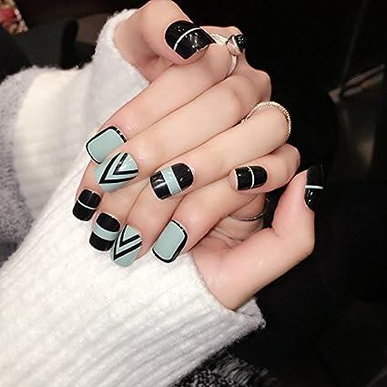yunail 24pcs Simple gris negro geométrico cuadrado uñas postizas ...