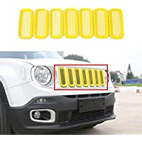 FMtoppeak Yellow ABS Car Front Grille Insert Wiht Grid Frame Cover Trims For 2014 UP Jeep Renegade
