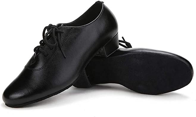 uirend Sport Tanzschuhe Schuhe Jungen Herren Leder Split Sohle Niedriger Schuhe Ballsaal Latein Tango Samba Salsa Training Performance Schwarz