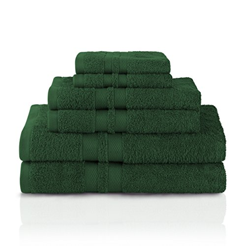Superior 100% Premium Cotton Ultra Soft 6 Piece Towel Set, 2 Bath Towels, 2 Hand Towels, and 2 Washcloths with Unique Honeycomb Double Border, Forest Green (Towel Green)