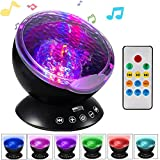 Ocean Wave Projector, Night Light Projector, LBell Sleep Sound Machine with Remote, Music Player, Timer, Room Decor for Infant Baby Kids, Nursery Living Room and Bedroom (Black)