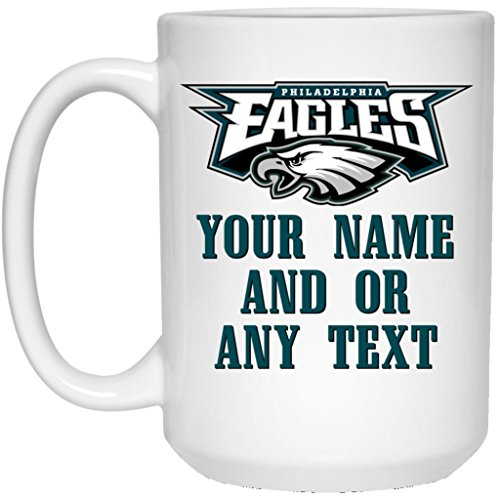 Custom Personalized Philadelphia Eagles Coffee Mug Eagles Logo Mug 15 oz. White Ceramic Cup Great for Hot Chocolate and Tea NFL NFC National Football League Perfect Gift for any Philly Eagles Fan