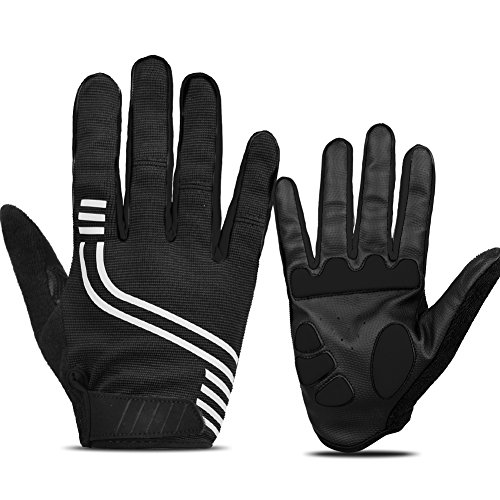 ANSOWQM Anti- Slip Cycling Gloves Full Finger Touchscreen Outdoor Reflective Workout Gloves with 5MM Gel Shock-Absorbing Pad Breathable for Men Women ()