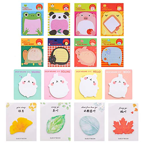 (16 Different Pattern Sticky Notes, 320 Sheet Mini Cute Removable Self-Stick Sticker Note, Animal Leaves Shape Pattern Bookmarks for Pupils Children Gifts Party Bags Filler Students Home Office)