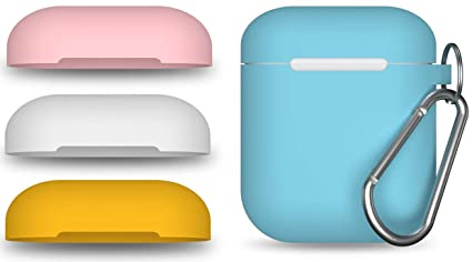 AirPods Case Cover w/Keychain (Teal) + 3 Extra Lids (Pink, White, Yellow) |  Compatible AirPod Cases Skins with Apple Air Pod Accessories | Earpods
