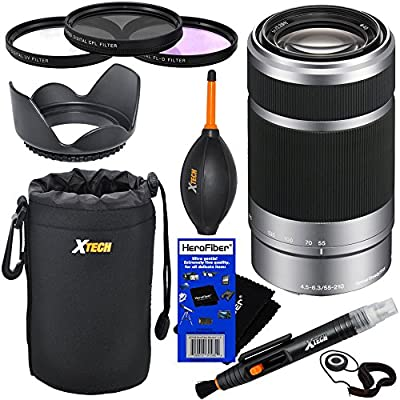 Sony E 55-210mm f/4.5-6.3 OSS E-Mount Telephoto Zoom Lens - Silver (Import) for a3000, a5000, a6000, Alpha NEX-3, NEX-3N, NEX-5N, NEX-5R, NEX-5T, NEX-6, NEX-7 & NEX-F3 Digital Cameras, NEX-VG30, NEX-VG30H & NEX-VG900 Interchangeable Lens Camcorders + 10pc