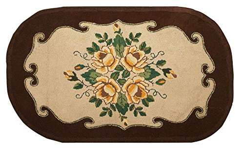 Area Rug - American Floral Hooked Rug - 4′5″ × 7′9″ - Americana, Boho Chic, Cottage - ()