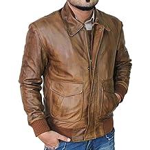 Decrum Mens Genuine Lambskin Brown Leather Jacket Slim Fit Distressed Biker Style