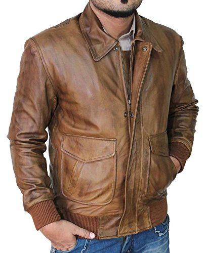 Mens Olympia Light Brown Vintage Leather Bomber Jacket | (Distressed Leather Bomber)
