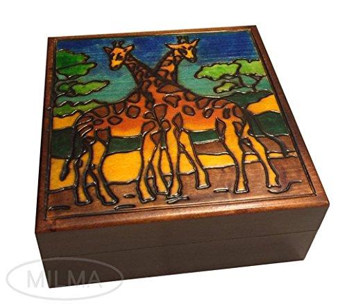 Two Giraffes Wood Box Polish Handmade Wood Keepsake Beautiful Jewelry Box