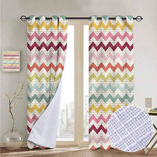 NUOMANAN Decorative Curtains for Living Room Chevron,Zigzag Pattern with Tartan,Blackout Draperies for Bedroom 52