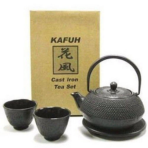 Happy Sales HSCT-ABK01, Cast Iron Tea Pot Tea Set Black ARR w/ Trivet
