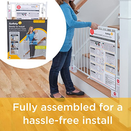 51S7A8oLdPL Safety 1st Ready to Install Baby Gate (White)    Create child-friendly spaces in your home with the Safety 1st Ready to Install Baby Gate. This sturdy baby gate can be opened with one hand and adjusted to fit doorways and openings ranging from 29 to 42 inches wide. This baby gate comes fully assembled for quick and trouble-free installation for a flat mounting surface at least 3.5 inches wide. The innovative design requires no drywall anchors and can be installed with a single screwdriver in just 15 minutes. The baby gate's no-threshold design removes the risk of tripping for extra safety when mounted at the top of a staircase. Easily create a safe space for children in your home by using this 30-inch-high adjustable baby gate in doorways, hallways, staircases, and more. Includes one baby gate. JPMA-certified baby gate meets ASTM standards for safety and includes a one-year limited warranty. Safety 1st believes parenting should have fewer worries and more joyful moments. As the first and only leader in child safety, Safety 1st is here to give you peace of mind so you can spend less time worrying and more time enjoying every first you experience with your child. Gate swings shut easily