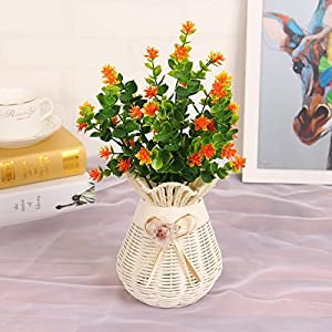 kingbuy Artificial Flowers 5 Bundles Outdoor UV Resistant Plants Shrubs Plastic Leaves Fake Bushes Greenery for Plants Indoor Outside Hanging Planter Home Patio Yard Garden Decor Window Box 3