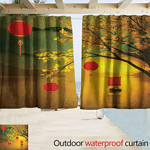 - AndyTours Rod Pocket Top Blackout Curtains/Drapes,Lantern Traditional Chinese Lanterns Hanging from Pale Fall Trees Lake Faded Nature Photo,Drapes for Outdoor Decor,W55x72L Inches,Multicolor