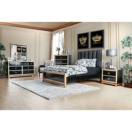 Hillrise Contemporary 4 Piece Queen Bed, 1 Nightstand, Dresser, Mirror in Black with Gold Trim (Hollywood Glamour Furniture Bedroom Sets)