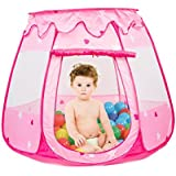 Folding Princess Ball Pit Tent for Girls Indoor and Outdoor 1 to 8 Years Old Toys, Children Game Pop Up Play Castle Tent Playhouses with Portable Tote Bag for Kids Furniture - Pink