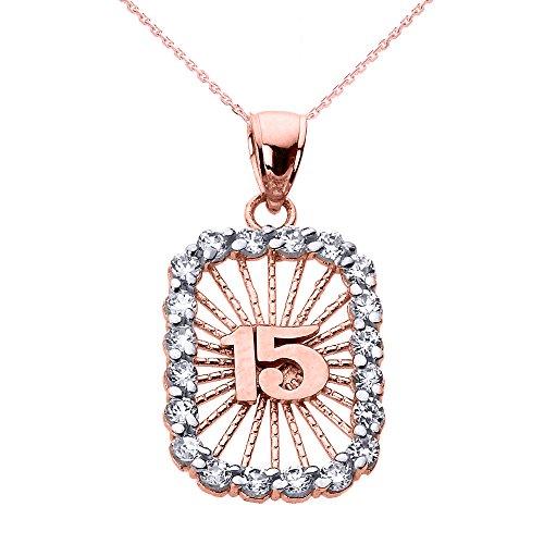 Collier Femme Pendentif 10 Ct Or Rose Suave 15 Années Quinceanera Oxyde De Zirconium (Livré avec une 45cm Chaîne)