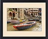 Framed Print of Boats on river Ganges, Varanasi, India